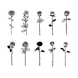 Красивые эскизы розы для тату