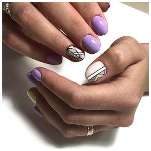 Фиолетовые ногти с дизайном