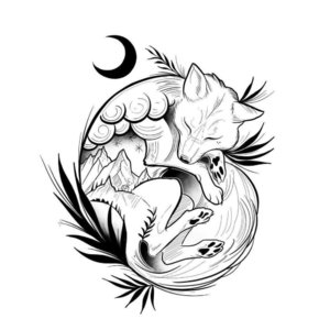 Эскиз тату лисы