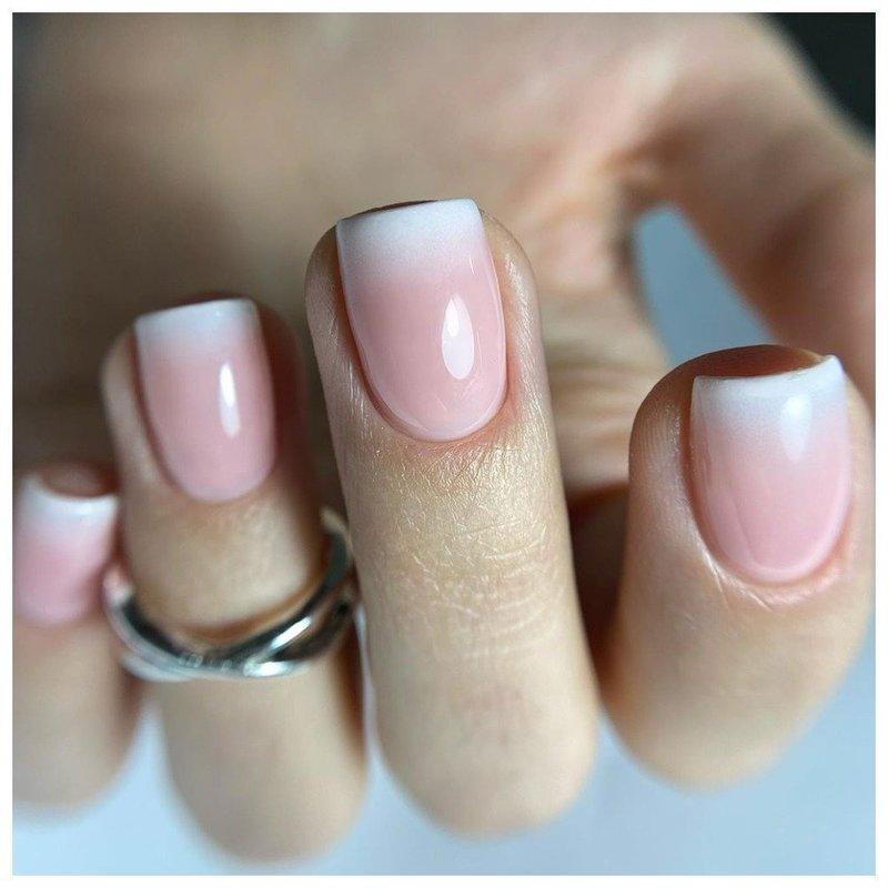 омбре шеллаком на короткие ногти