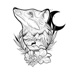 Эскиз тату лисы с луной и цветами