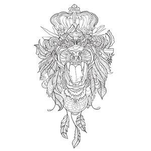 Эскиз тату льва с открытой пастью