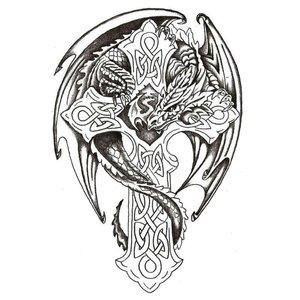 Эскиз тату на ногу с крестом и драконом