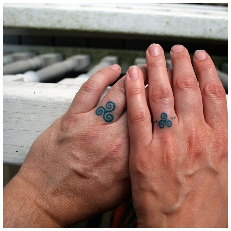Парные тату на пальцы