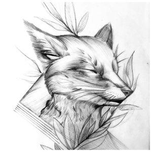 Эскиз тату лисы с растением
