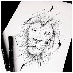 Эскиз тату льва в стиле минимализма