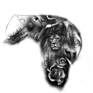 Эскиз тату льва на плечо и руку