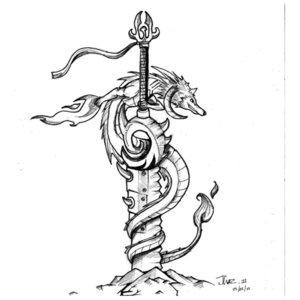 Эскиз тату на ногу с кинжалом и драконом