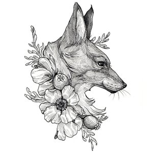 Эскиз тату головы лисы