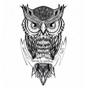 Эскиз тату совы с надписями