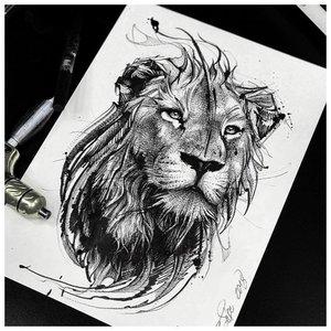 """Эскиз тату льва в стиле """"лайнворк"""" и """"реализм"""""""