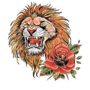 Эскиз тату льва в стиле олд-скул