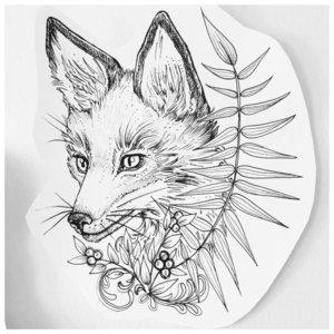 Эскиз тату лисы с листьями
