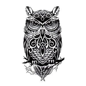 Эскиз тату совы с орнаментом