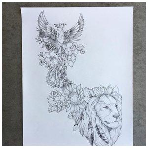 Эскиз тату льва с птицей