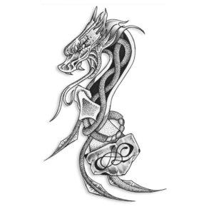 Эскиз тату на ногу с драконом и якорем