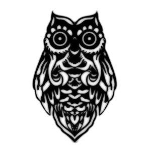 Эскиз тату совы для блэкворка