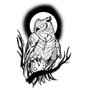 Эскиз совы на ветке с часами и луной