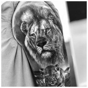 Тату льва в стиле 3Д