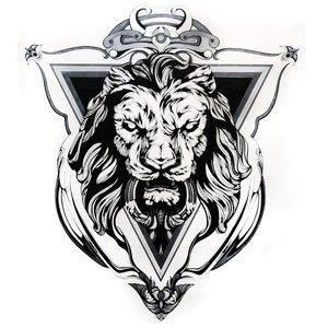 Эскиз тату льва в треугольнике