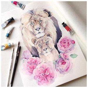 Эскиз тату льва с львицей