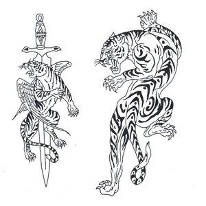 Эскиз тату на ногу с тиграми
