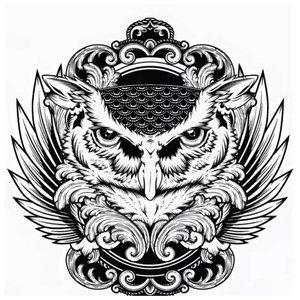 Эскиз тату совы в медальоне