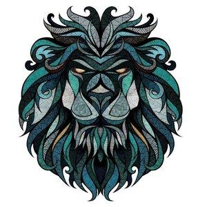 Эскиз тату льва в зеленом цвете