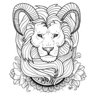 Эскиз тату льва с рогами