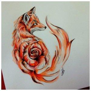 Эскиз тату лисы с розой