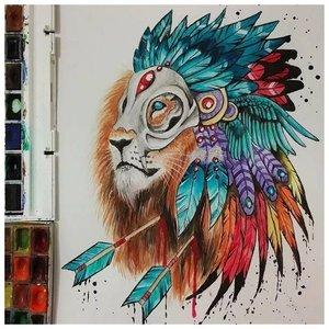 Эскиз тату льва с перьями и стрелами