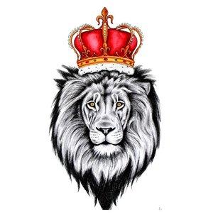 Эскиз тату льва с красной короной
