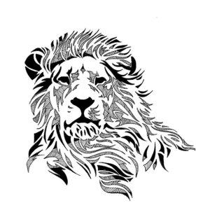 Эскиз тату льва в графике