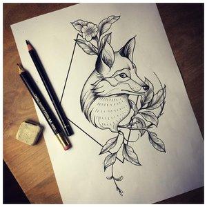 Эскиз тату лисы в контуре