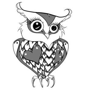 Эскиз тату мультяшной совы