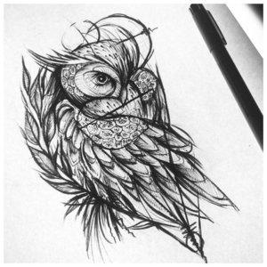 Эскиз совы в лайнворке