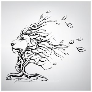 Эскиз тату льва в виде дерева
