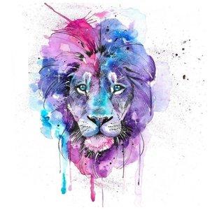 Эскиз тату льва в розовом цвете