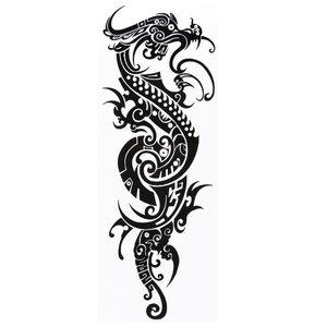 Эскиз тату на ногу с драконом