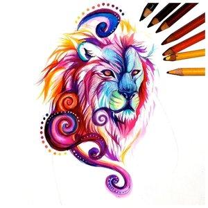 Эскиз тату льва в акварели