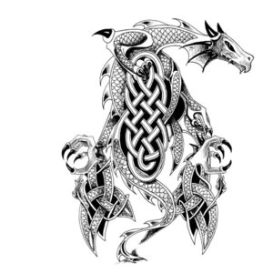Эскиз тату на ногу с драконом и узорами