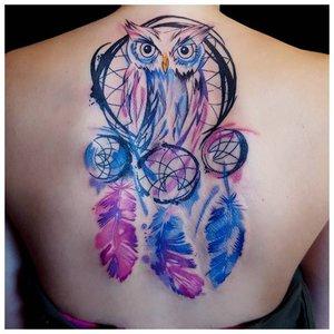 Цветное тату совы в стиле ориентал