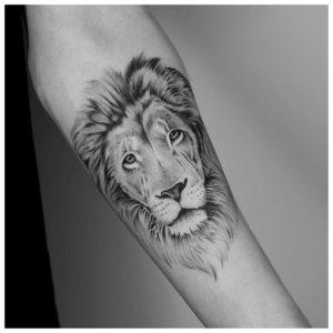 Тату льва на сгиб локтя