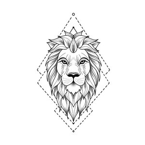 Эскиз тату льва в минимализме