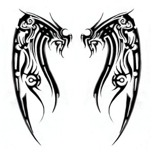 Эскиз тату на ногу с крыльями