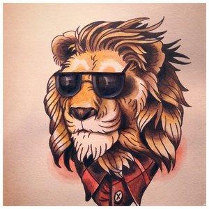 Эскиз тату льва в мультяшном стиле
