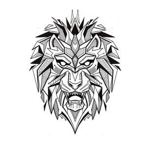 Эскиз тату льва в лайнворк-стиле
