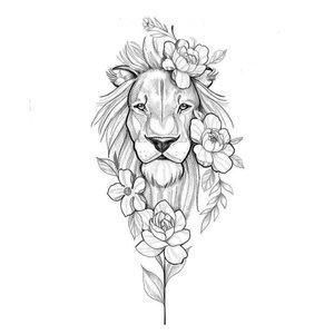 Эскиз тату льва с цветами