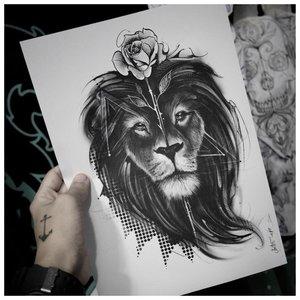 Эскиз тату льва с розой