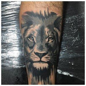Тату льва на предплечье